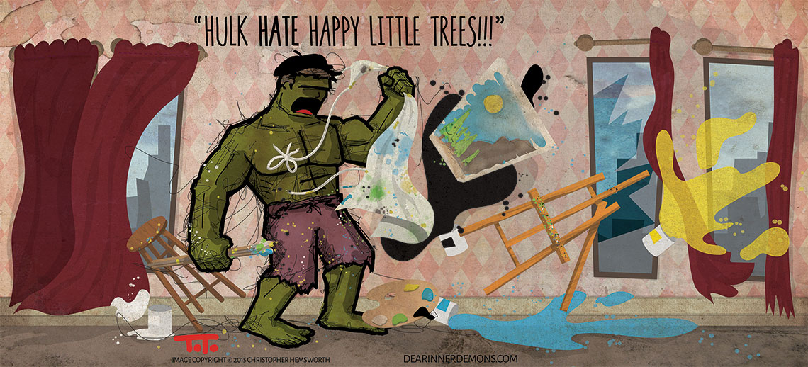 Hulk HATE happy little trees.